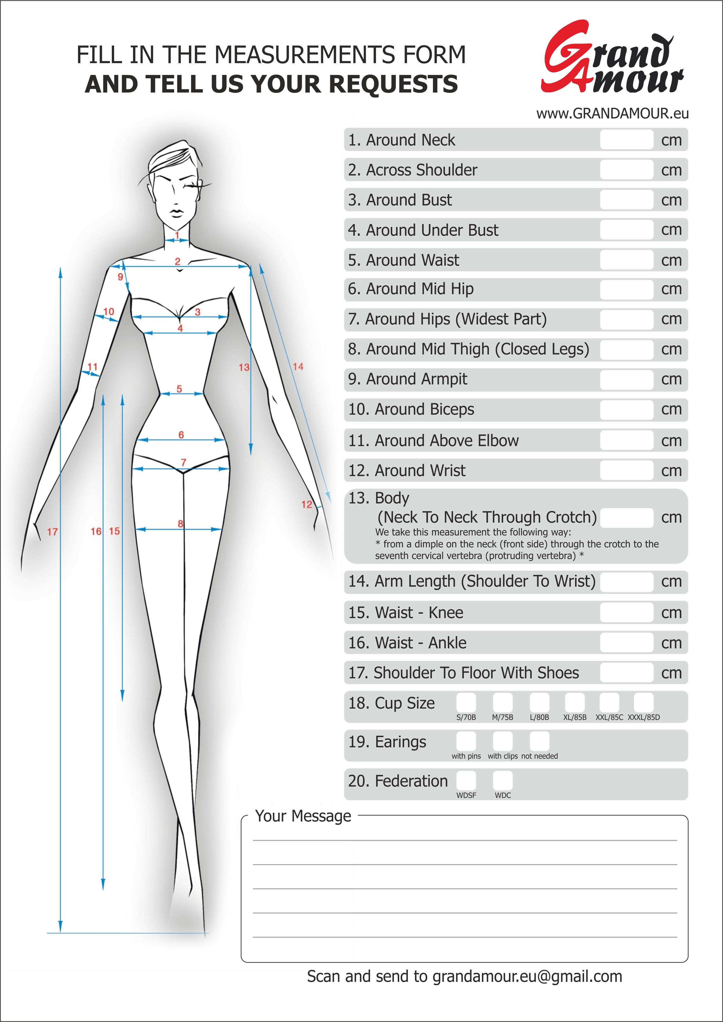 Measurements Form Grand Amour Eu The Best Dresses For